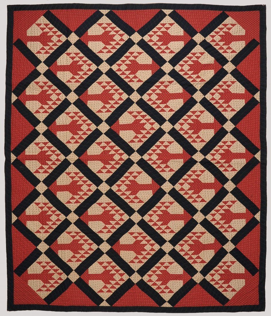 ANTIQUE 'TREE OF LIFE' PATTERN QUILT IN RED, WHITE & BL