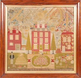 LARGE 19TH C. NEEDLEWORK WITH HOUSES, CARRIAGE TREES, F