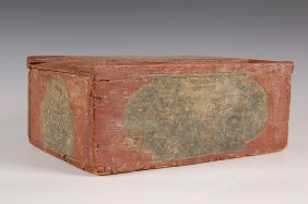 19TH C. DECORATED SLIDE LID CANDLE BOX
