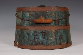 ANTIQUE SHAKER-TYPE LIQUIDS BUCKET WITH LEATHER SPOUT