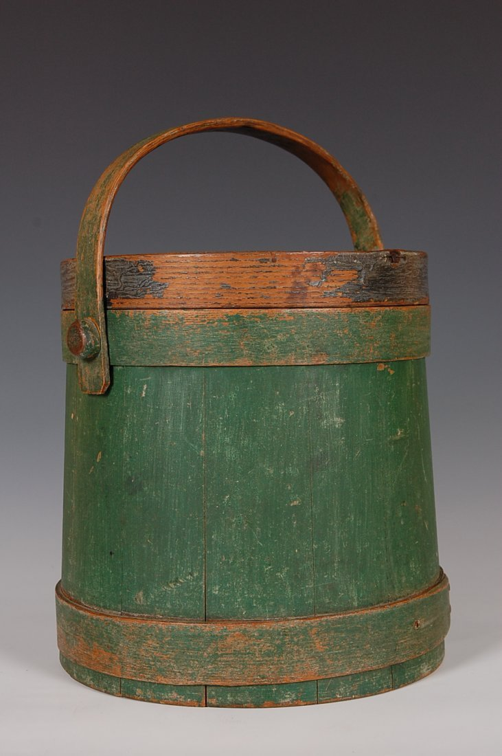 19TH C. FIRKIN IN OLD GREEN PAINT