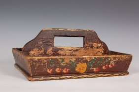 PAINT DECORATED CUTLERY TRAY, PENNSYLVANIA FORM