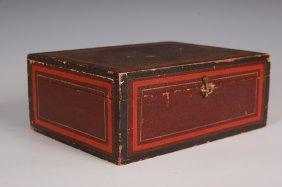 19TH C. DOCUMENT BOX WITH ORIGINAL PAINT DECORATION