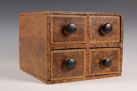 19th C. GRAIN PAINTED CASE OF DRAWERS