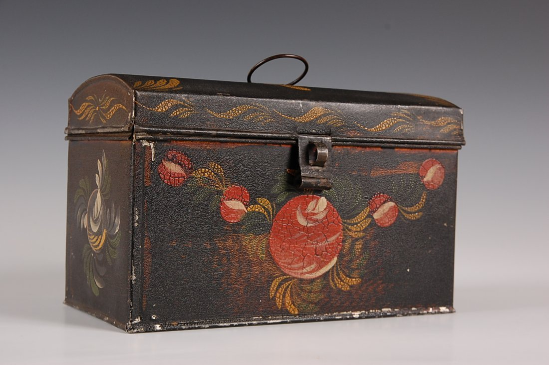 19th C. DECORATED TOLE DOCUMENT BOX