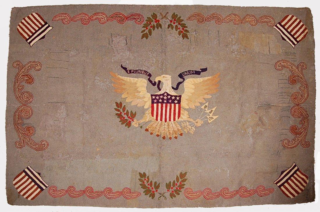 WONDERFUL 8' X 5' HOOKED RUG W/ AMERICAN EAGLE & SHIELD