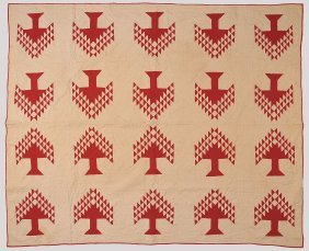 ANTIQUE RED AND WHITE TREE PATTERN PATCHWORK QUILT