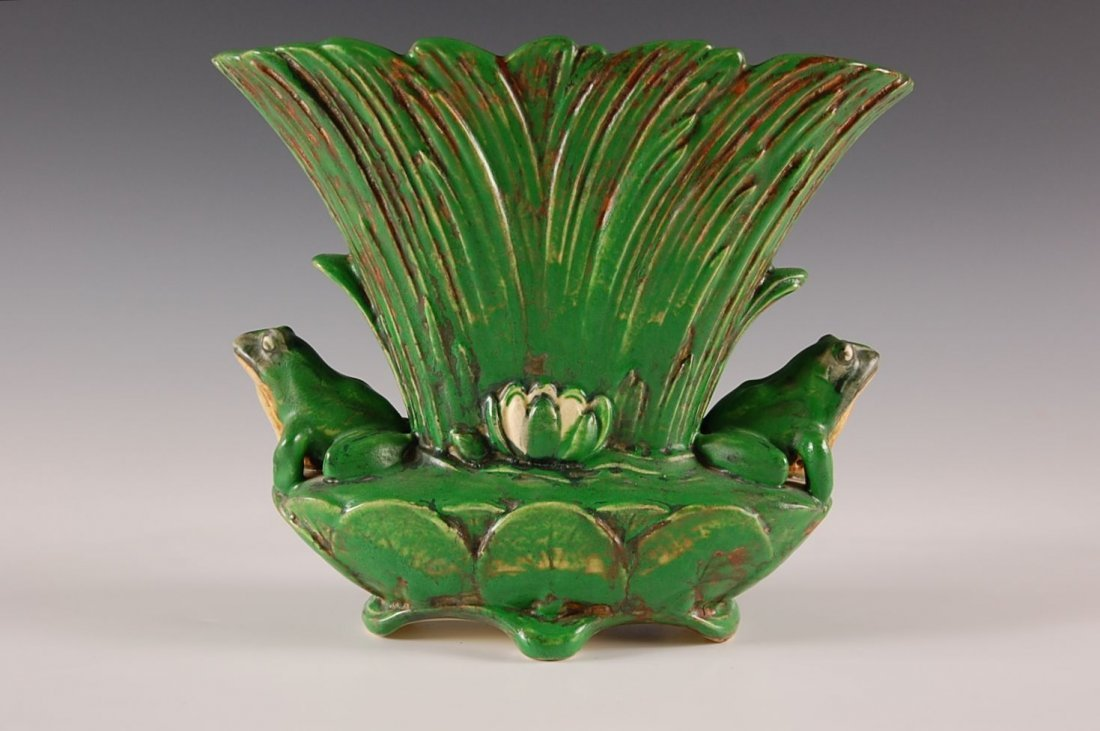 WELLER COPPERTONE VASE WITH FROGS - 7