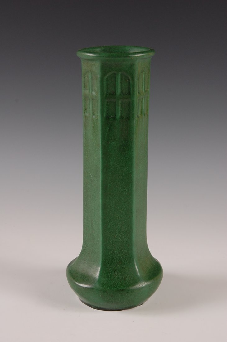 WELLER MATTE GREEN ARTS AND CRAFTS STYLE 11 INCH VASE - 2