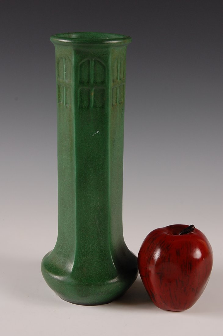 WELLER MATTE GREEN ARTS AND CRAFTS STYLE 11 INCH VASE - 3