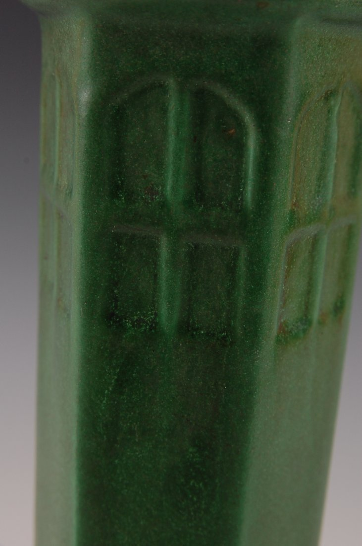 WELLER MATTE GREEN ARTS AND CRAFTS STYLE 11 INCH VASE - 8