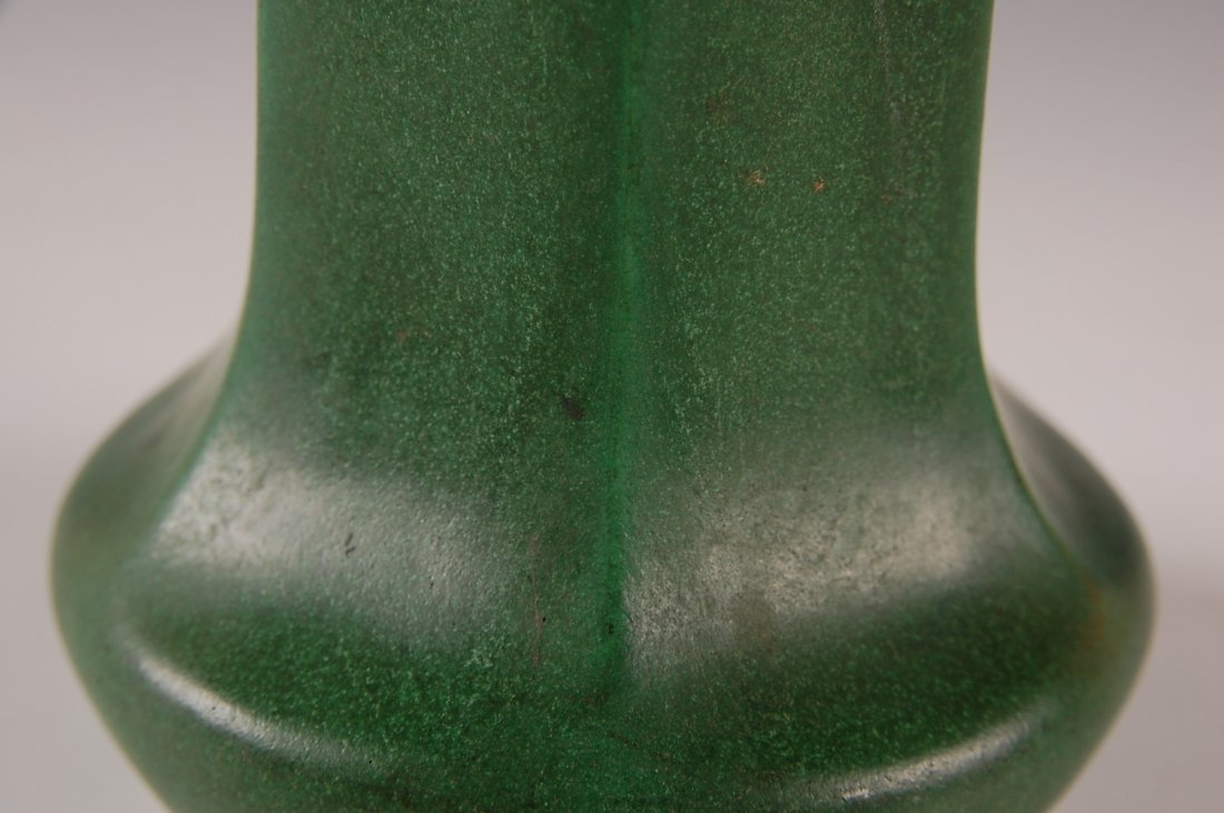 WELLER MATTE GREEN ARTS AND CRAFTS STYLE 11 INCH VASE - 9