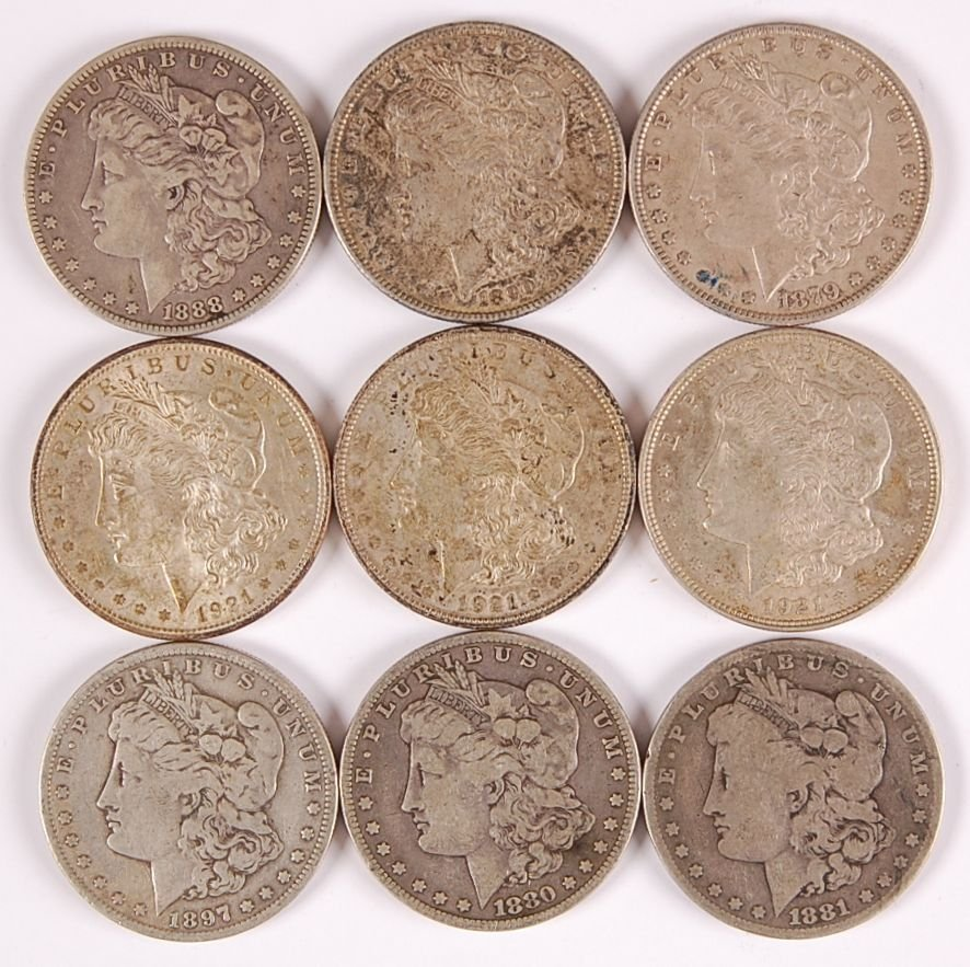 NINE MORGAN SILVER DOLLARS