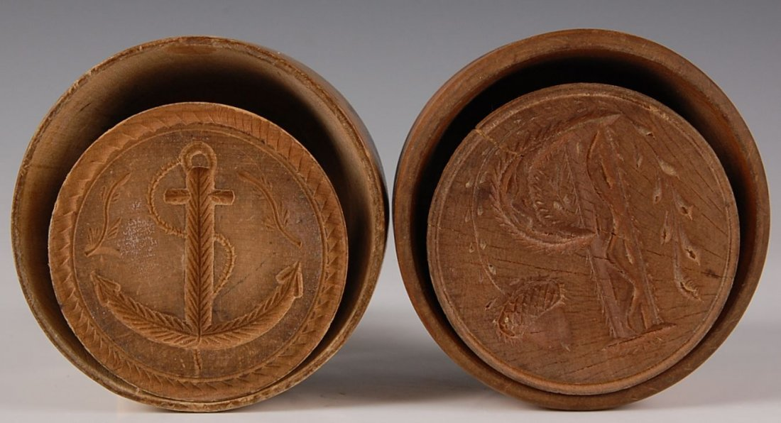 TWO TURNED WOOD BUTTER MOLDS