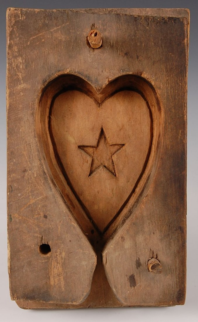 TWO PIECE HEART-SHAPED SUGAR MOLD WITH HEART & STAR