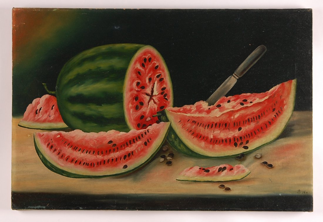 AMERICAN PRIMITIVE PAINTING WITH WATERMELON