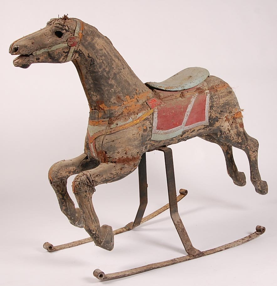 C. 1900 CAROUSEL HORSE ATTR HERSCHELL -  ON IRON ROCKER