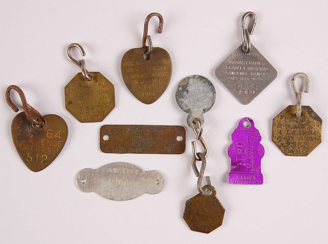 COLLECTION OF LAWRENCE KANSAS DOG TAGS AND LICENSES