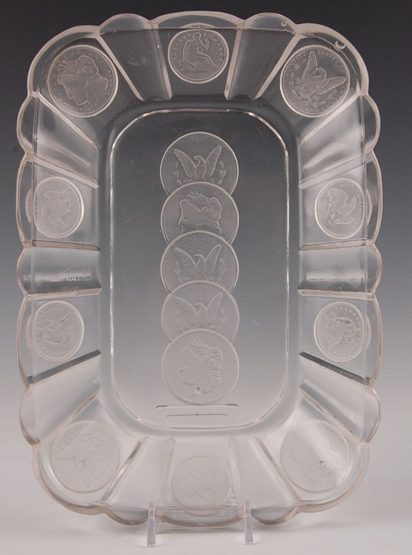 FROSTED US COIN EAPG SHALLOW TRAY