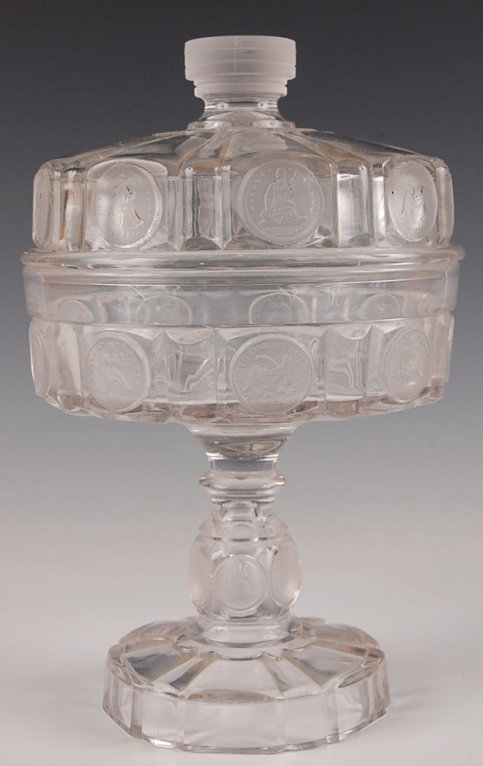 FROSTED US COIN 9-INCH COVERED COMPOTE