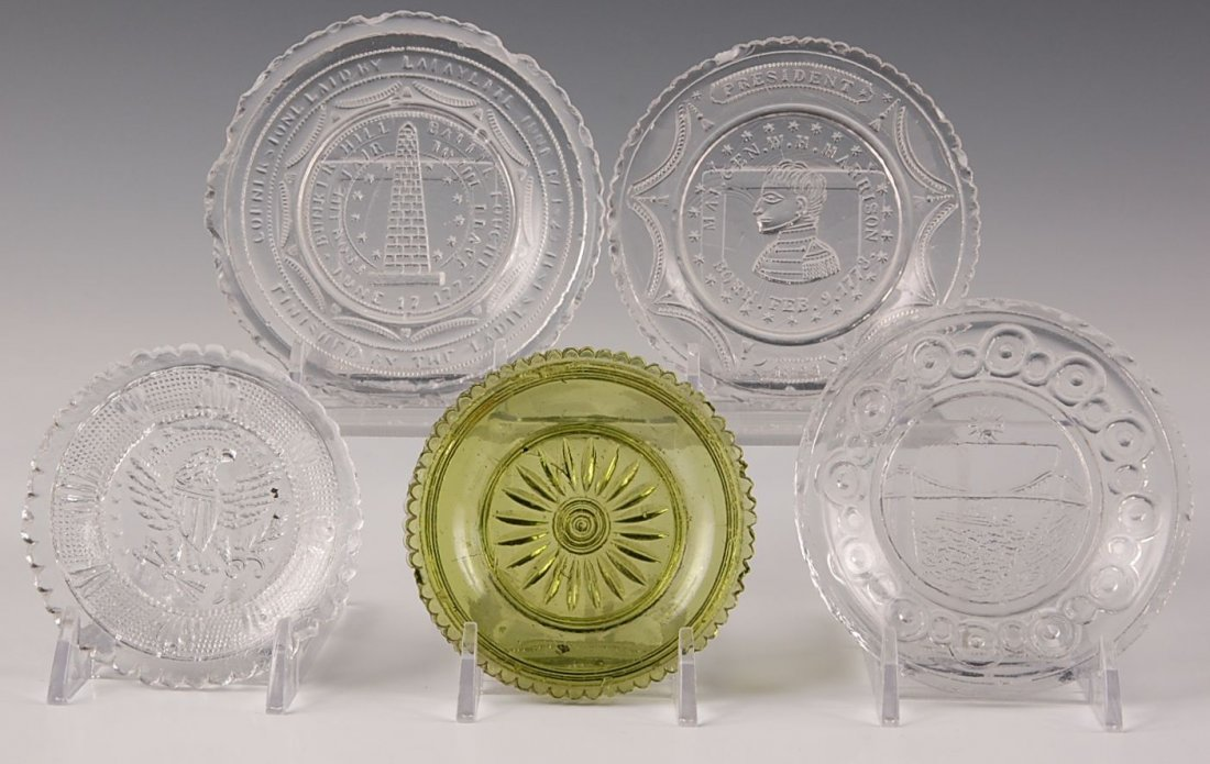 HISTORICAL AND GREEN COLORED FLINT CUP PLATES