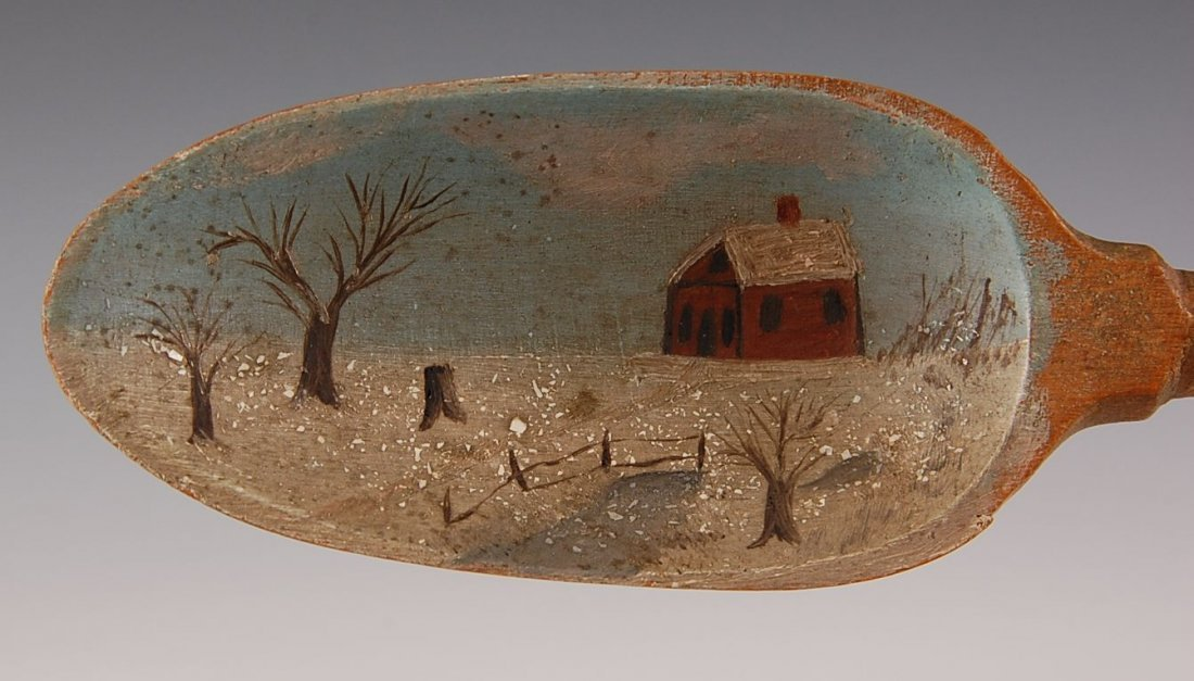 C. 1900 WOODEN KITCHEN SPOON WITH FOLK ART PAINTING