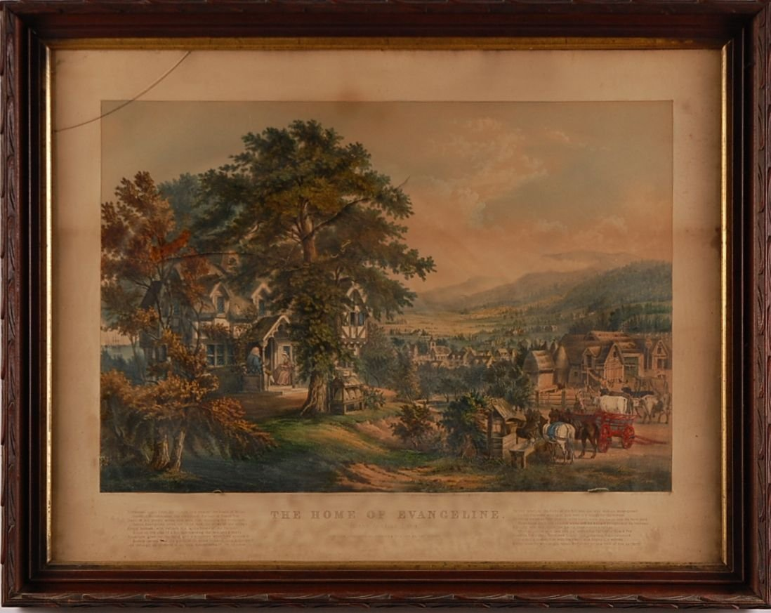 CURRIER AND IVES LARGE FOLIO  'HOME OF EVANGELINE'