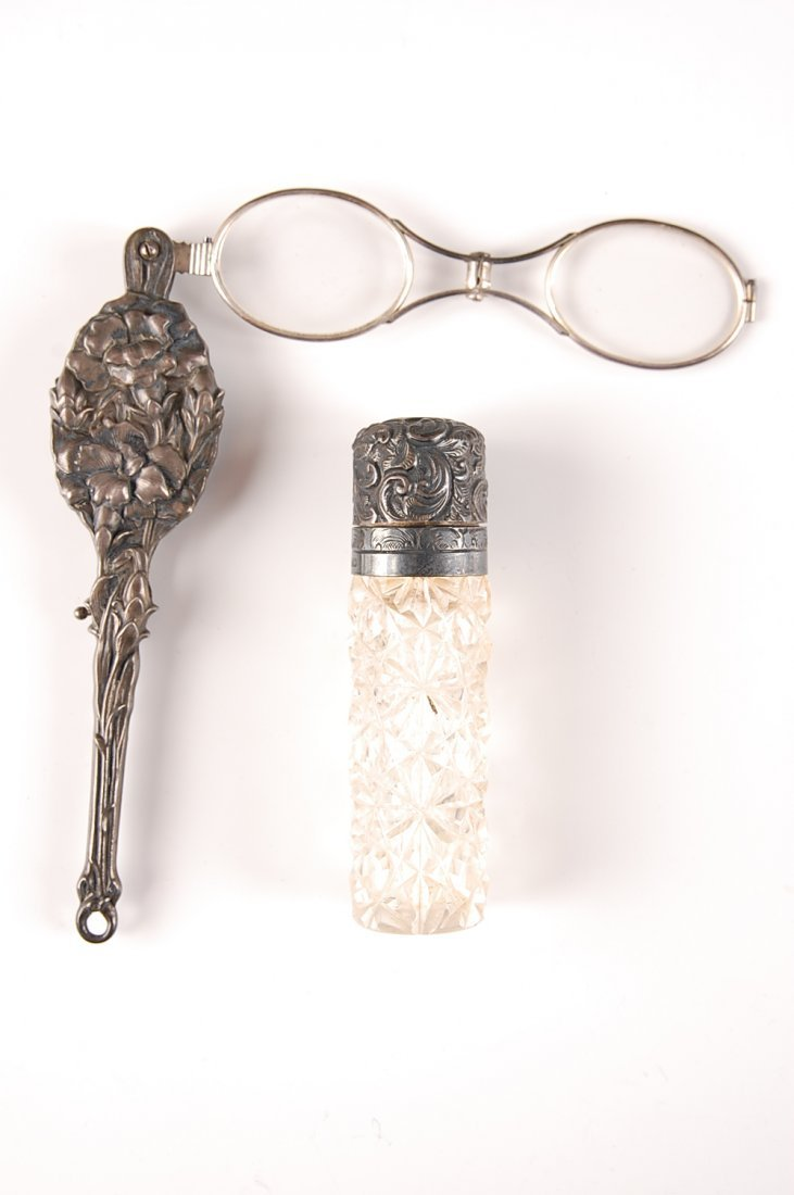 C. 1900 STERLING AND CUT GLASS PERFUME WITH LORGNETTE P