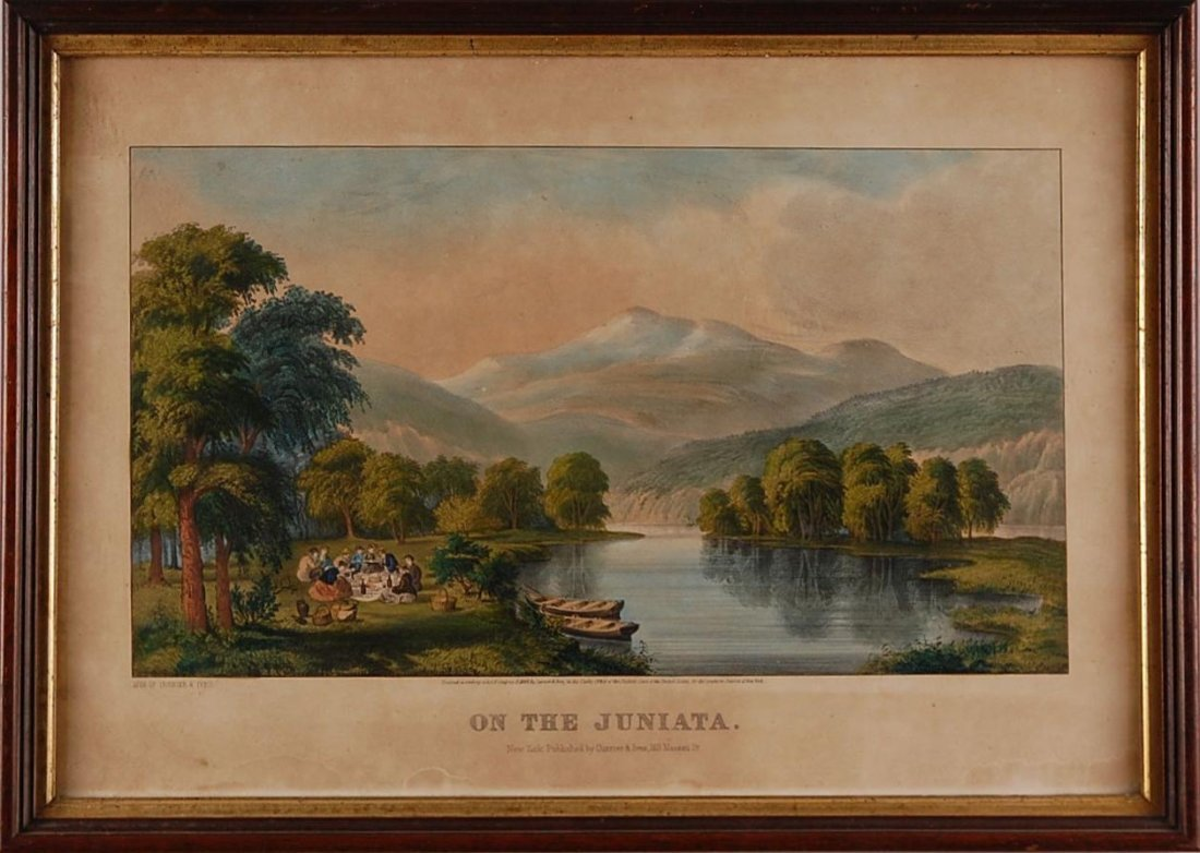 CURRIER AND IVES MEDIUM FOLIO HAND COLORED LITHOGRAPH