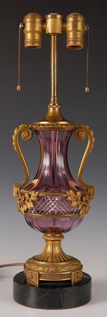 EXCEPTIONAL BRONZE MOUNTED AMETHYST CRYSTAL LAMP