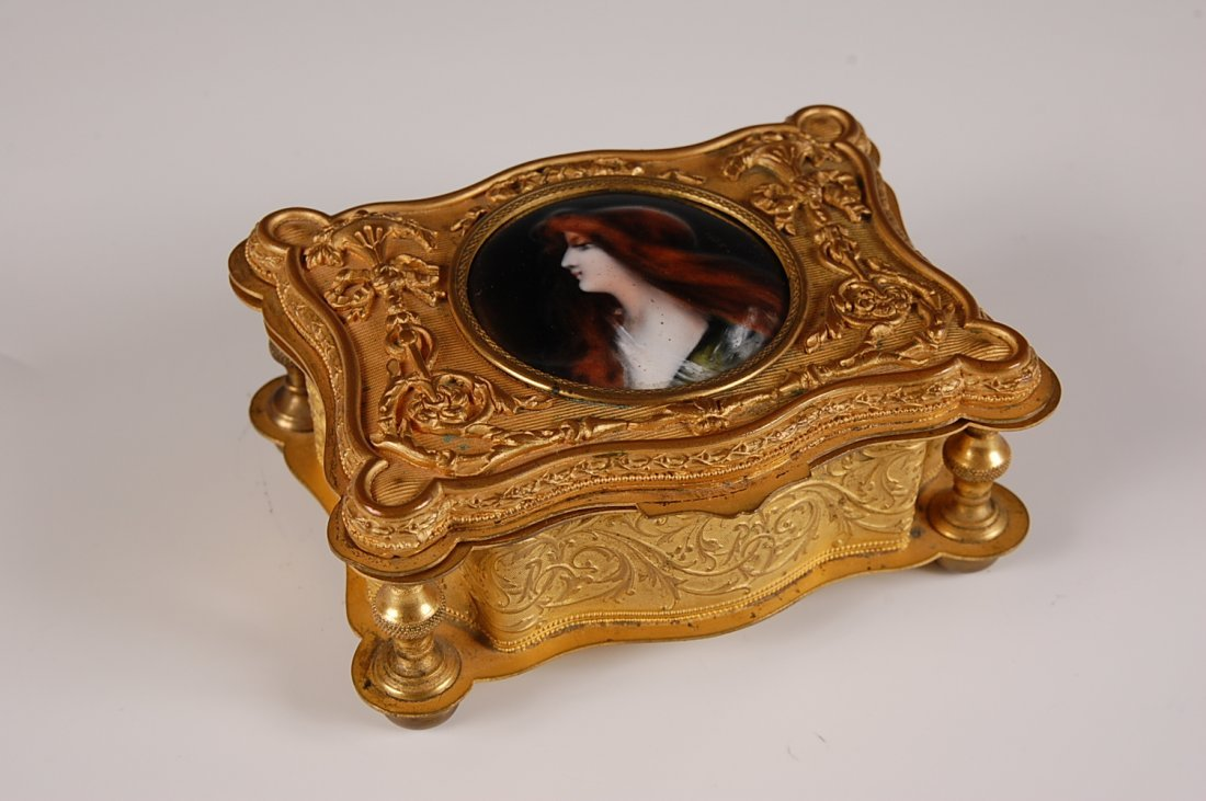 RECTANGULAR FRENCH ORMOLU BOX WITH COPPER ENAMEL PORTRA