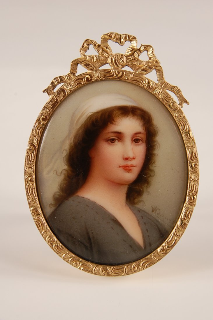 MINIATURE PAINTING ON PORCELAIN SIGNED WAGNER