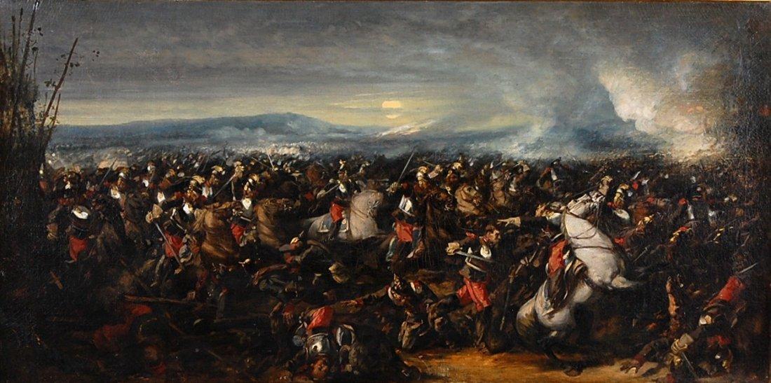 VICTOR NAVLET (1819-1886) BATTLE OF REICHSHOFFEN OIL ON