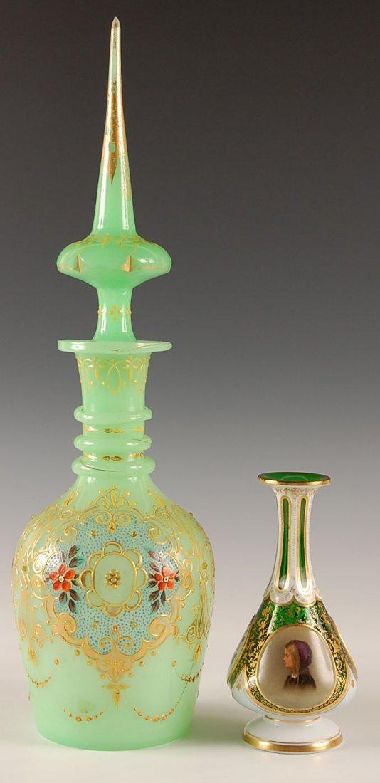 TWO PIECES BOHEMIAN GLASS INCL MOSER-TYPE PORTRAIT VASE