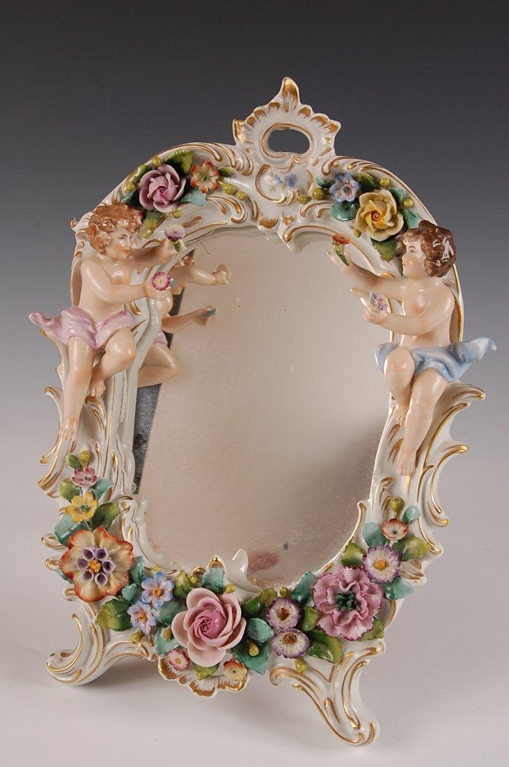 Sitzendorf German Porcelain Mirror With Cherubs