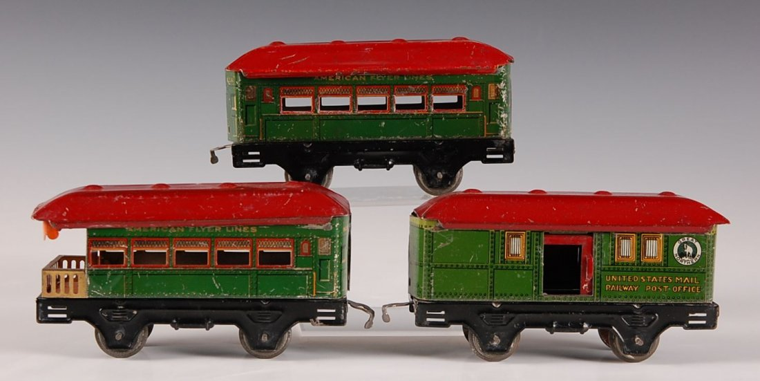 THREE AMERICAN FLYER TIN LITHO CARS