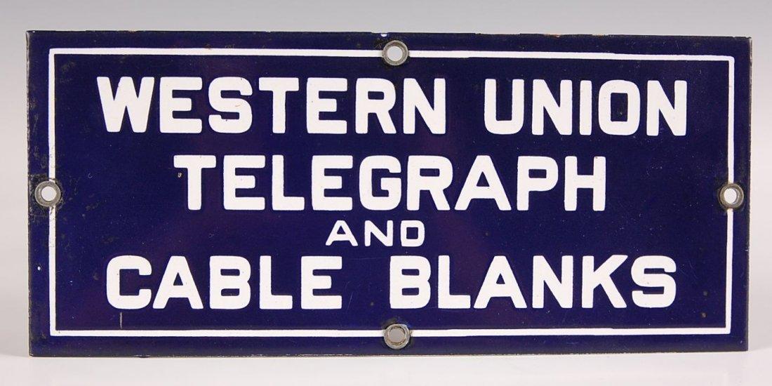 WESTERN UNION TELEGRAPH PORCELAIN ENAMEL SIGN