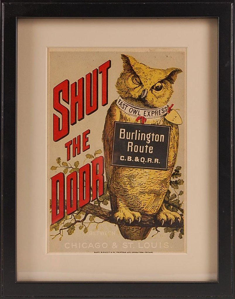 CIRCA 1890s BURLINGTON ROUTE CB&Q RR ADVERTISEMENT