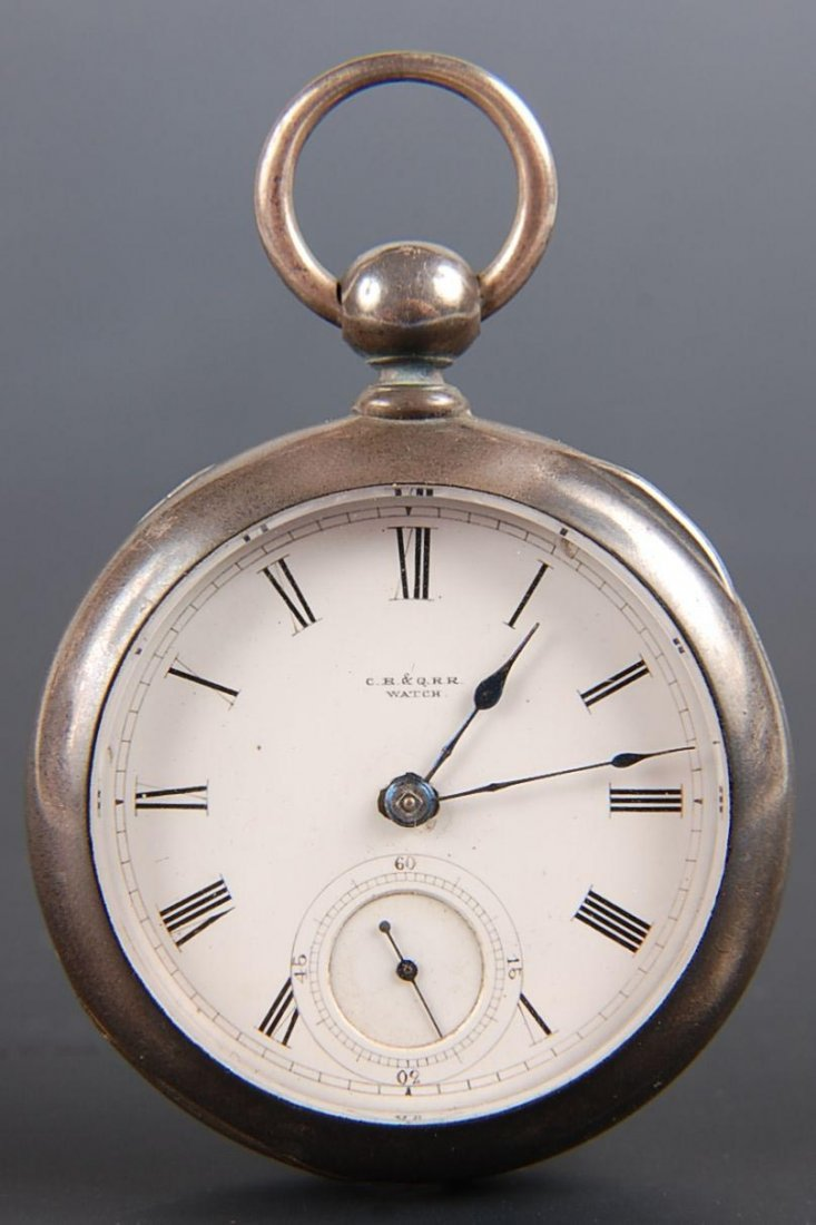 CIRCA 1871 COIN SILVER POCKET WATCH MARKED C.B & Q