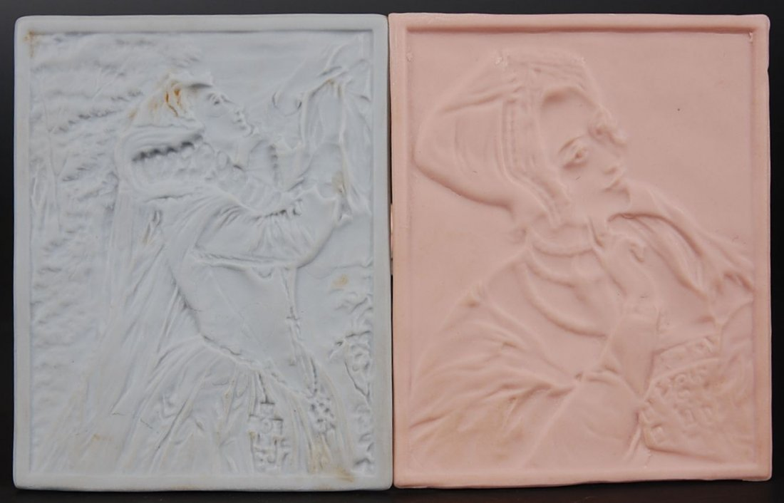 PINK AND BLUE LITHOPHANES WITH FEMALE FIGURES