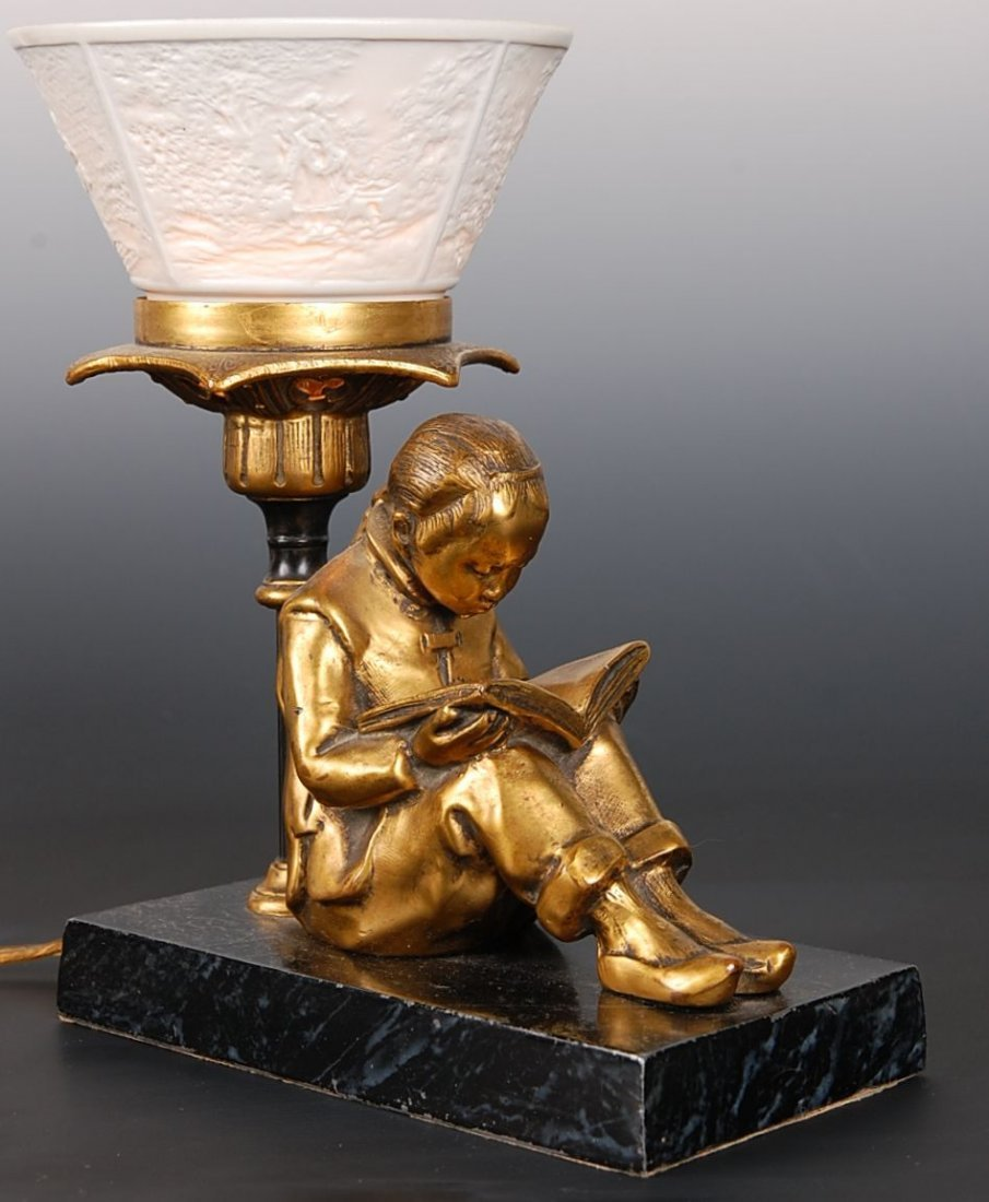 1920S FIGURAL LAMP WITH LITHOPHANE PORCELAIN SHADE