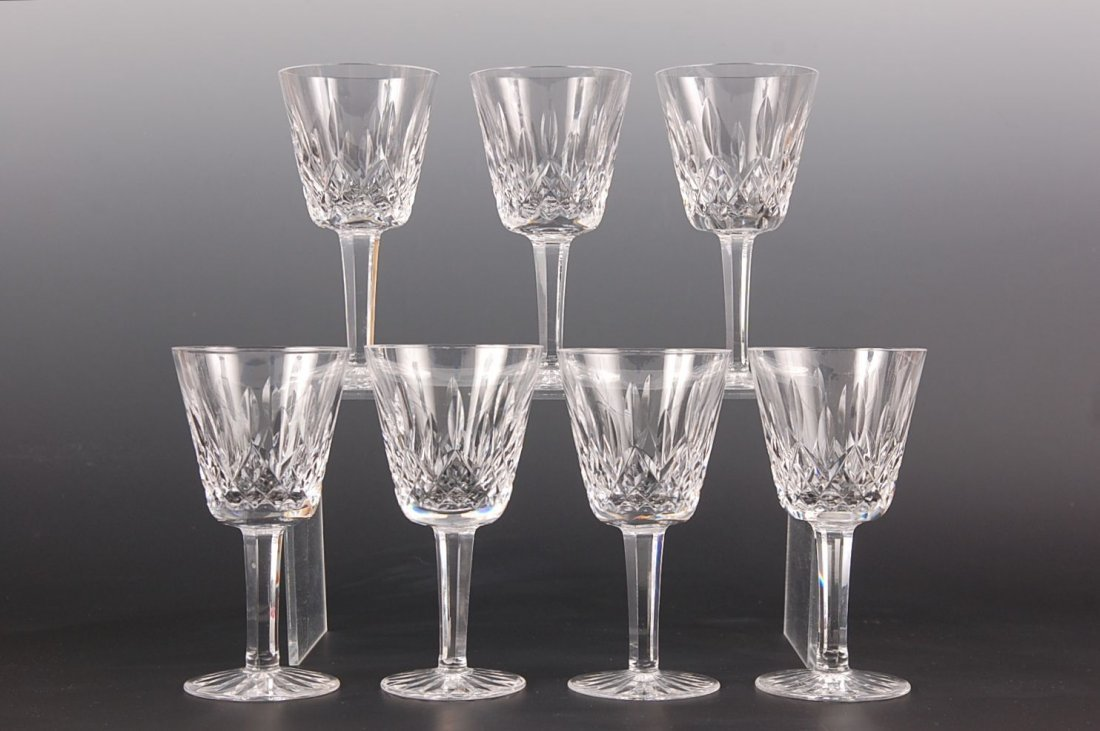 SEVEN WATERFORD CRYSTAL LISMORE WHITE WINES
