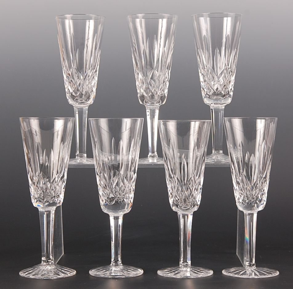 SEVEN WATERFORD CRYSTAL LISMORE CHAMPAGES