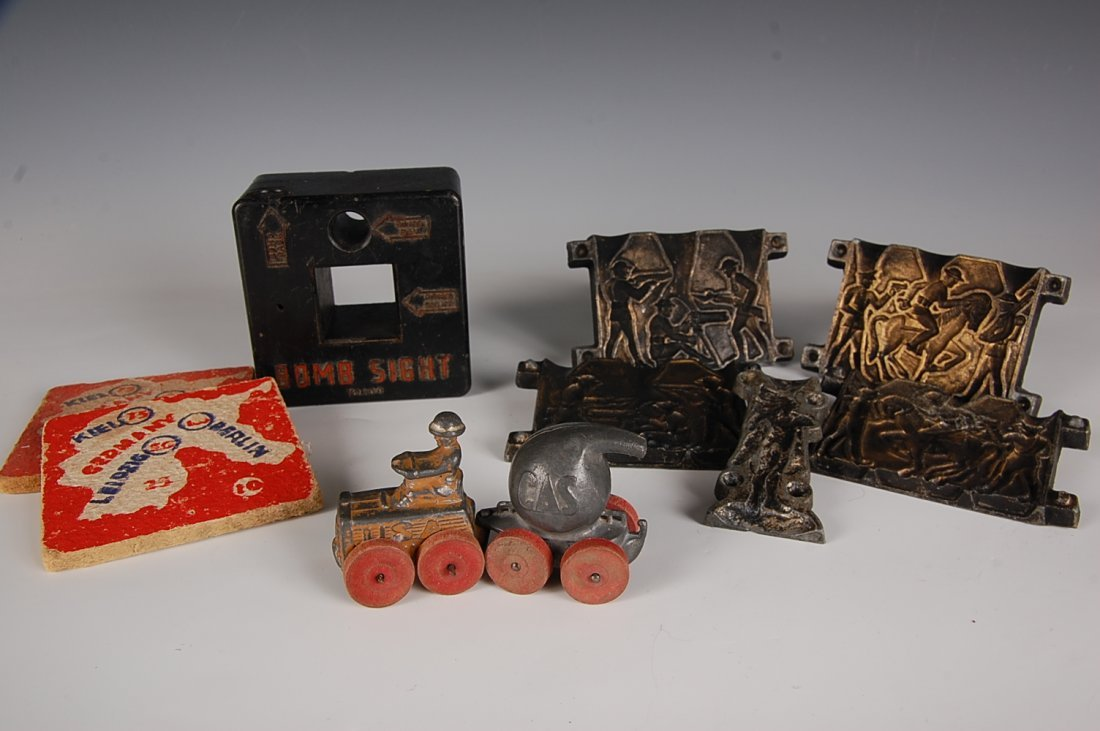 LEAD SOLDIER MOLD, MANOIL BARCLAY WWI GAS TANK, ETC