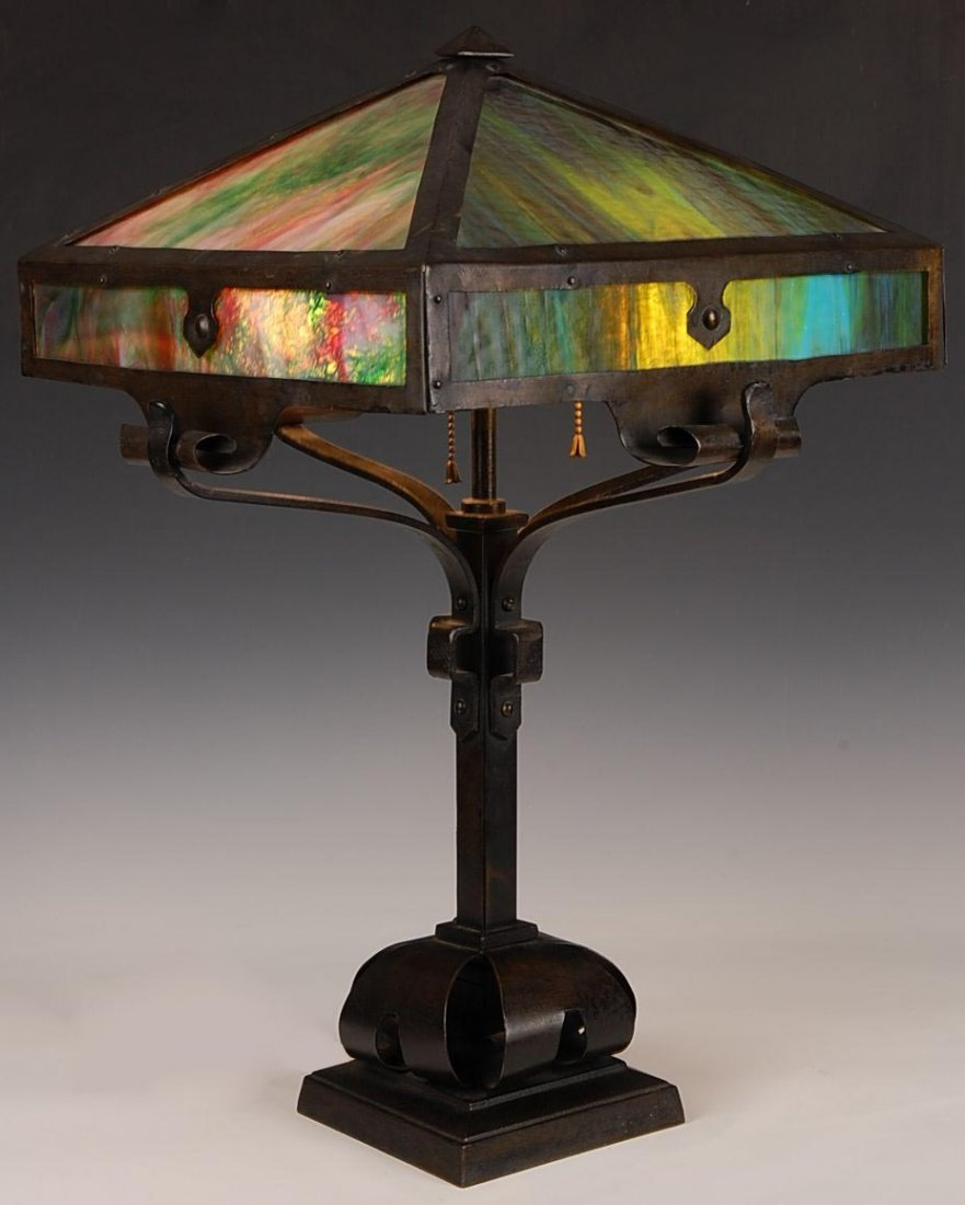 IRON FRAME ARTS AND CRAFTS PANEL LAMP