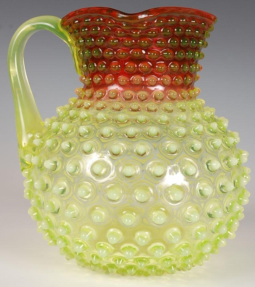 VICTORIAN ART GLASS CRANBERRY VASELINE HOBNAIL PITCHER