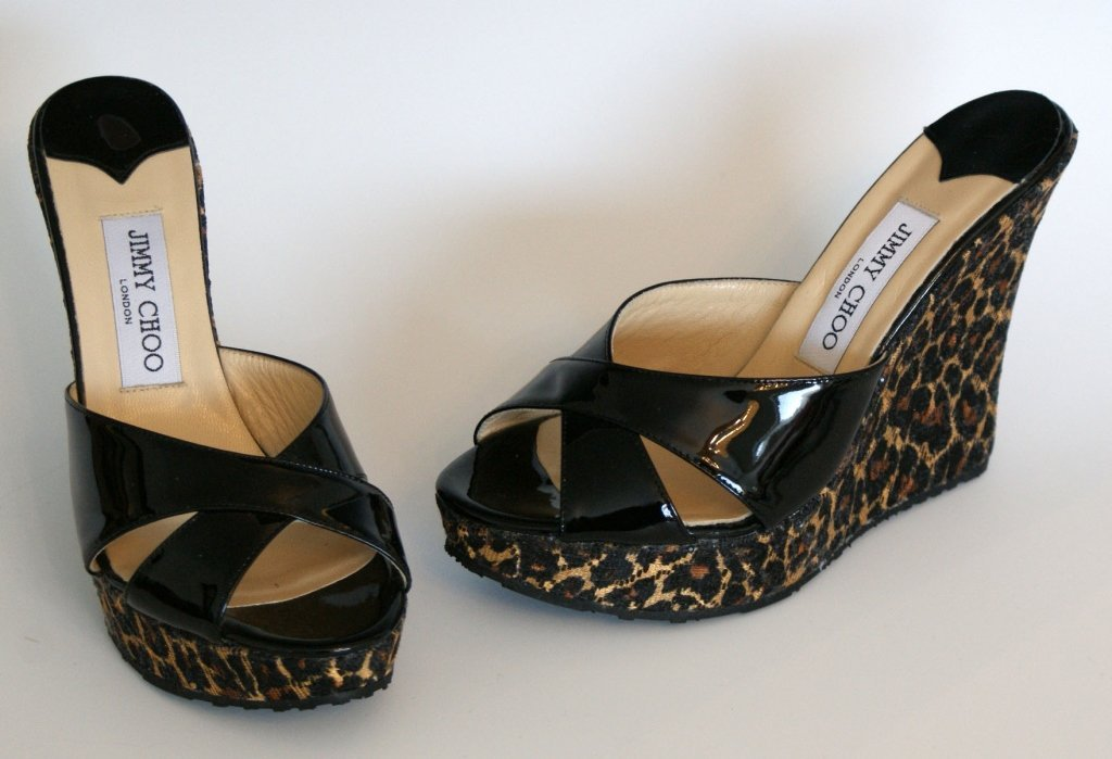 JIMMY CHOO WEDGE SLIDE - LEOPARD & BLK PAT - SZ 8