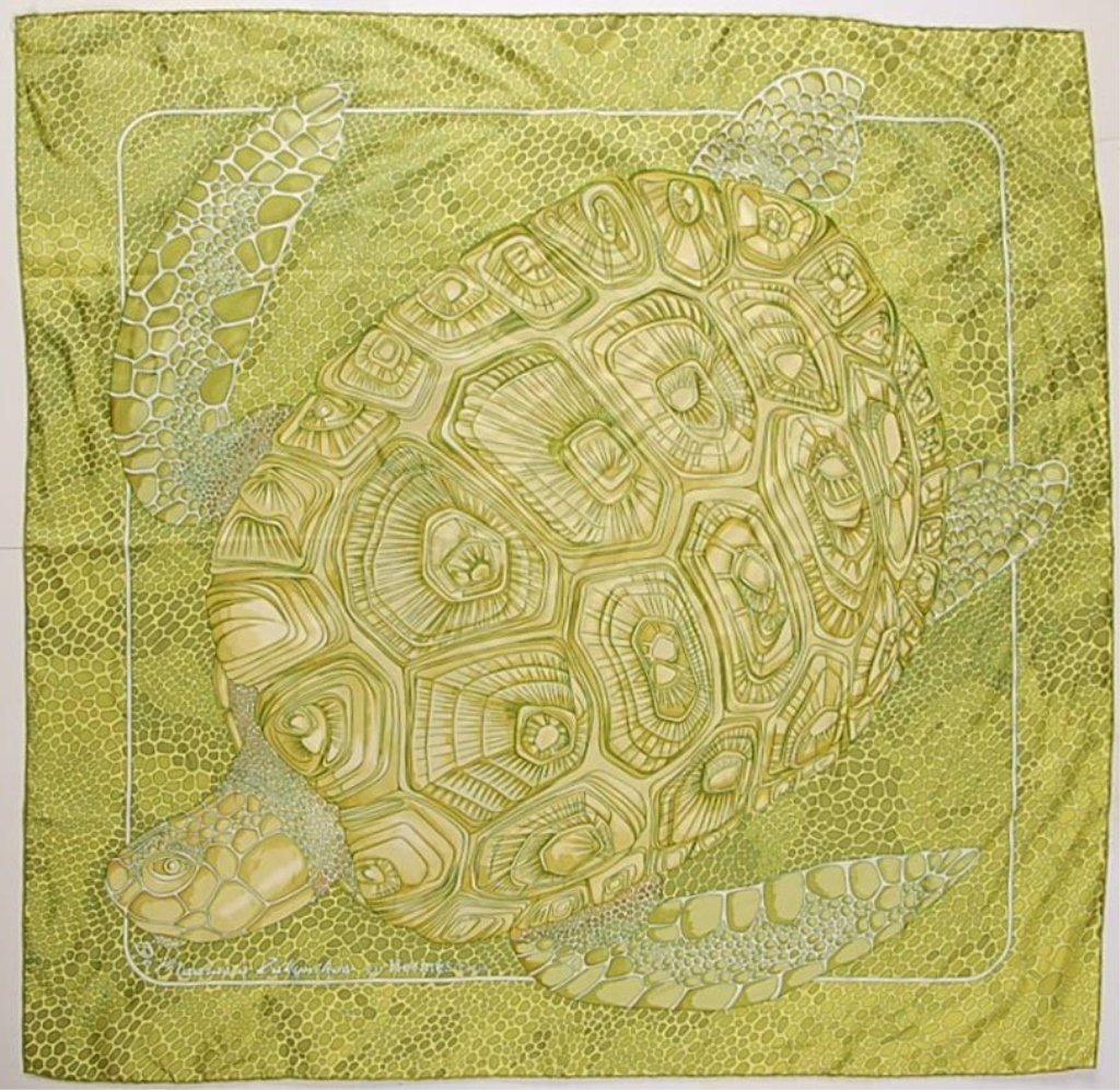 HERMÈS SILK SCARF WITH A SEA TURTLE MOTIF