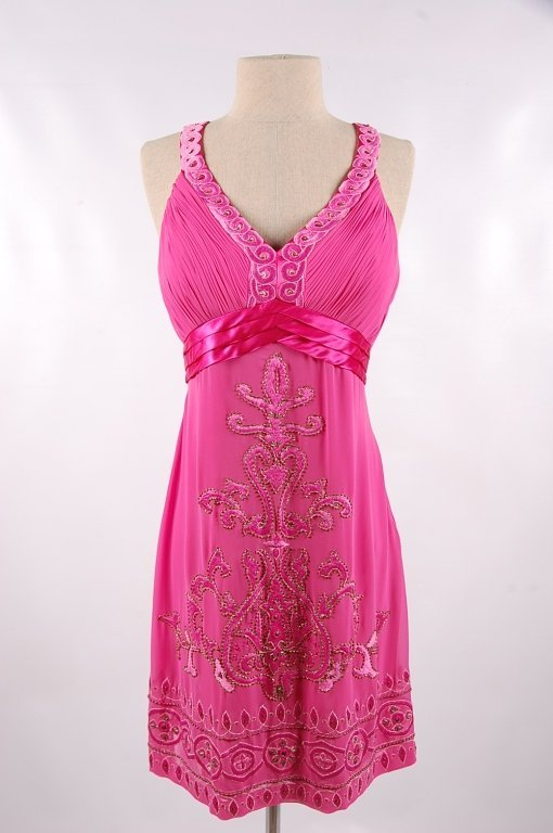 SUE WONG NOCTURNE FUCHSIA BEADED DRESS,SIZE 12