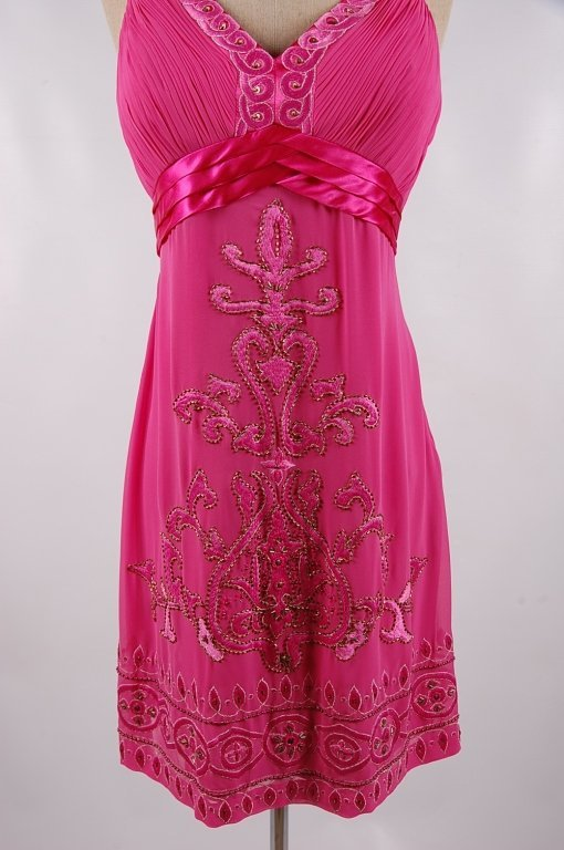 SUE WONG NOCTURNE FUCHSIA BEADED DRESS,SIZE 12 - 3
